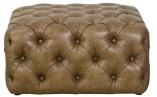 HomePop Large Square Tufted Ottoman, Light Brown Faux Leather