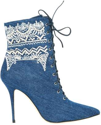 Manolo Blahnik Navy Cloth Ankle boots