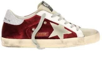 Golden Goose Sneakers Superstar Sneakers In Velvet And Suede With Glitter Heel