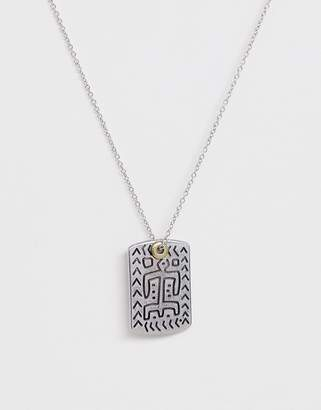 ICON BRAND neck chain with engraved dog tag in silver