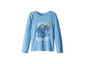 Life is Good Social Butterfly Crusher T-Shirt Long Sleeve (Little Kids/Big Kids)