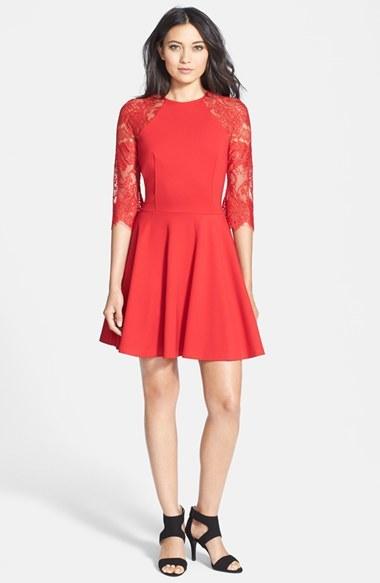 Women's Bb Dakota 'Yale' Lace Panel Fit & Flare Dress 2