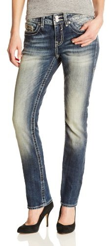Vigoss Women's Straight Jean with Heavy Stitching and Signature V Back Pocket