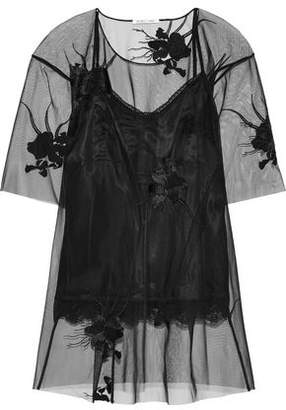 Helmut Lang Embroidered Tulle Top