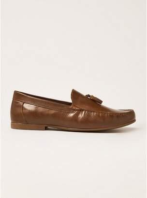 Topman Mens Brown Tan Leather Blast Tassel Loafers