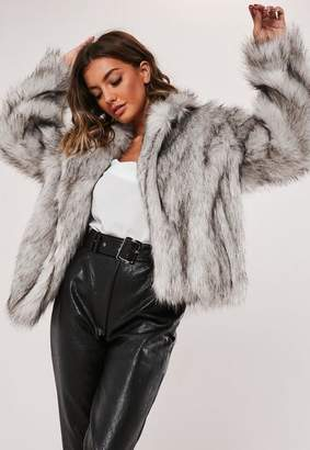 Missguided Gray Faux Fur Collared Coat
