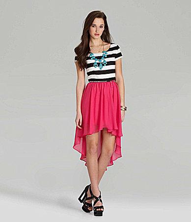 B. Darlin B.Darlin Striped Hi-Low Dress
