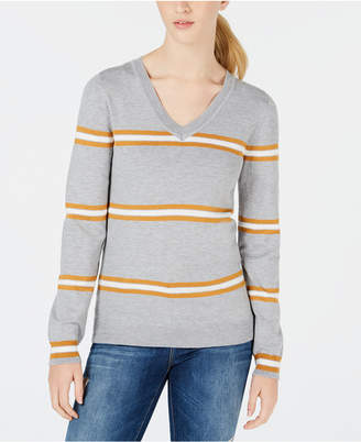 Hippie Rose Juniors' V-Neck Striped Sweater