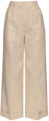 HILLIER BARTLEY Wide-leg camel-canvas trousers