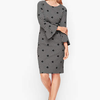 Talbots Dot Houndstooth Flare Sleeve Sheath dress