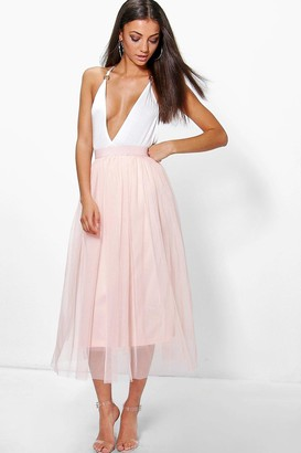 561453e230355 boohoo Tall Boutique Tulle Mesh Midi Skirt