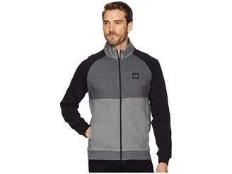 Calvin Klein Color Block Mock Neck Full Zip Sweater