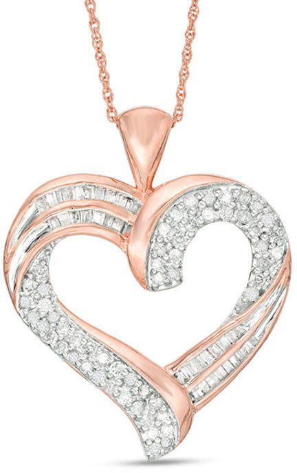 Zales 1/2 CT. T.W. Baguette and Round Diamond Heart Pendant in 10K Rose Gold