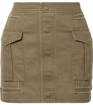 Saint Laurent Cotton And Ramie-blend Twill Mini Skirt - Army green