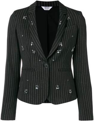 Liu Jo crystal-embellished striped blazer