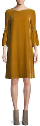 Lafayette 148 New York Roslin Round-Neck Bell-Sleeve Velvet Shift Dress