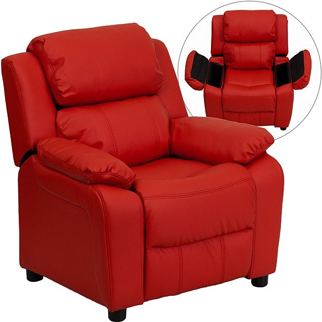 Flash Furniture Deluxe Heavily Padded Contemporary Red Vinyl Kids Recliner with Storage Arms
