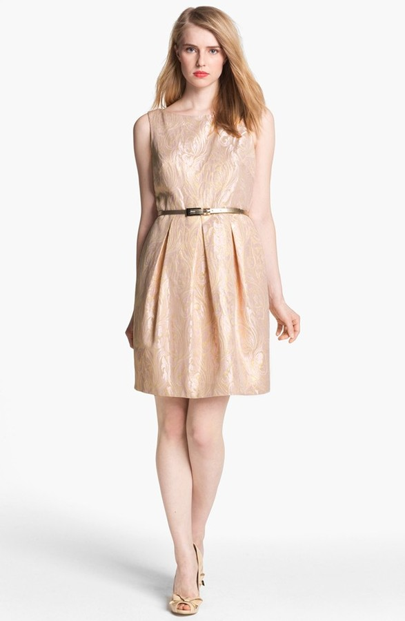 Eliza J Sleeveless Brocade Fit & Flare Dress