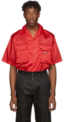 Prada Red Nylon Gabardine Pocket Shirt