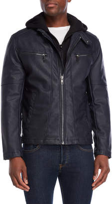Andrew Marc Crobett Faux Leather Hooded Jacket