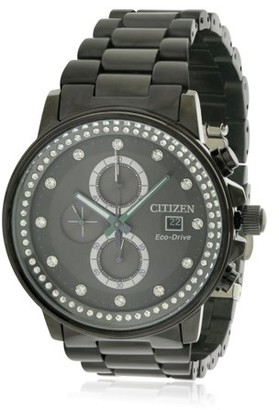 Citizen Women's Eco-Drive Nighthawk Black Ion Chronograph Watch FB3005-55E