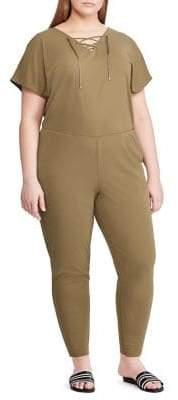 Lauren Ralph Lauren Plus Lace-Up Straight-Leg Jumpsuit