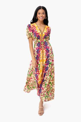 Saloni Champagne Berries Lea Long Dress
