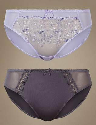 Marks and Spencer 2 Pack Embroidered High Leg Knickers