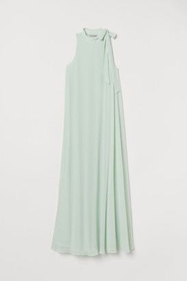 0c3e5581eee9 H&M Long Dress with Tie Collar - Green