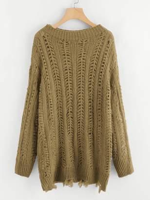 Shein Plus Drop Shoulder Raw Hem Sweater