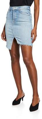 Mother The Tomcat Slide Mini High-Waist Frayed Denim Skirt
