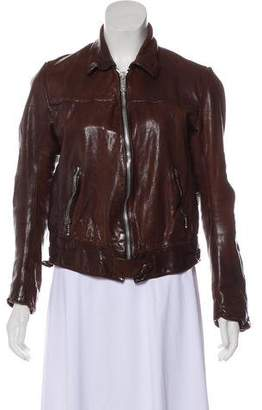 Golden Goose Leather Zip-Up Jacket