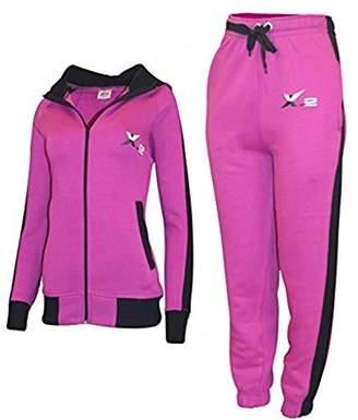X-2 Women Athletic Full Zip Fleece Tracksuit Jogging Sweatsuit Activewear Hooded Top XXL