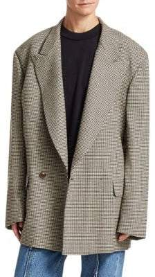 Oversized Doulbe-Breasted Houndstooth Jacket