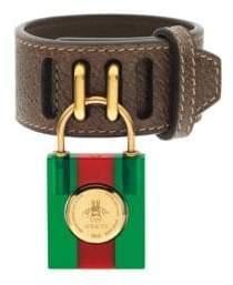 Gucci Twirl Lock Leather Bracelet Watch