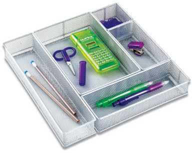 Container Store Silver Mesh Drawer Organizer Set