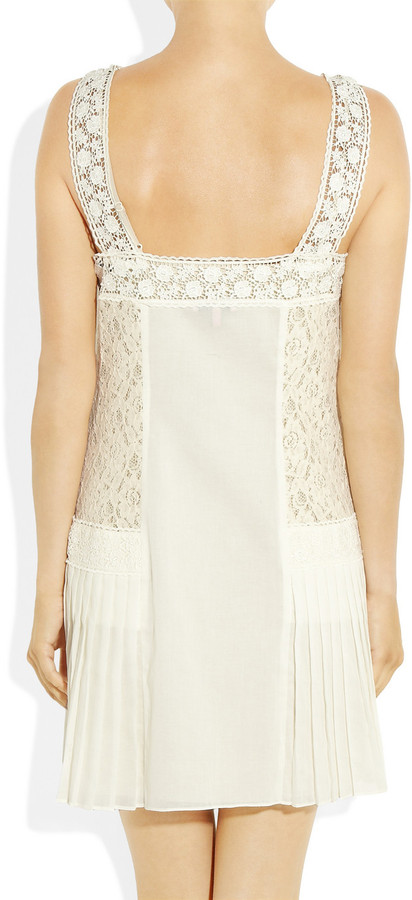 Juicy Couture Lace-paneled pleated cotton dress
