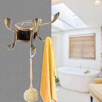 Yosoo Metal Active Bathroom Door Towel Hanger Holder Clothes Coat Hat Bag Hooks Wall Mount , Door Towel Hook, Wall Metal Hook