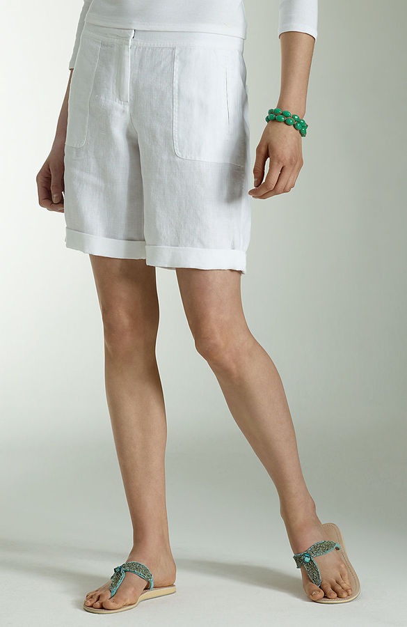 J. Jill Linen rolled-cuff shorts