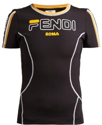 Fendi Logo Print Stretch Jersey T Shirt - Womens - Black Gold