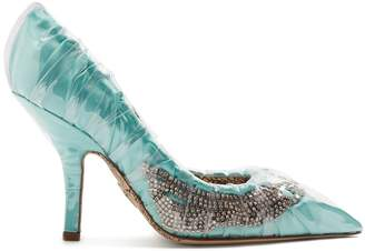 Cesare Paciotti BY MIDNIGHT Crystal-embellished ruched satin pumps