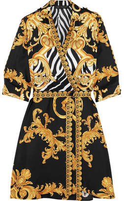Versace - Wrap-effect Printed Silk-twill Mini Dress - Gold