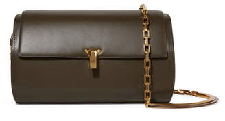 THE VOLON Po Trunk Leather Shoulder Bag - Army green