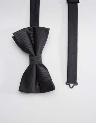 Asos DESIGN bow wedding tie in black