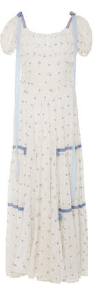 LoveShackFancy Jessie Ribbon-Detailed Floral-Embroidered Cotton Dress