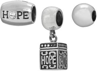 "Individuality Beads Sterling Silver Crystal ""Hope"" Bead & Prayer Box Charm Set"