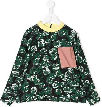 Marni contrast detail floral top