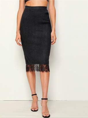 Shein Lace Panel Slit Back Pencil Sweater Skirt