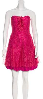 Phoebe Couture Strapless Bubble Hem Lace Dress w/ Tags