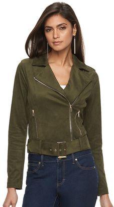 Women's Jennifer Lopez Faux-Suede Moto Jacket $98 thestylecure.com